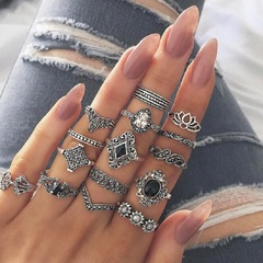 New set of 15 pieces set ring personality style hollow lotus sunflower geometric black gem set rings silver as picture