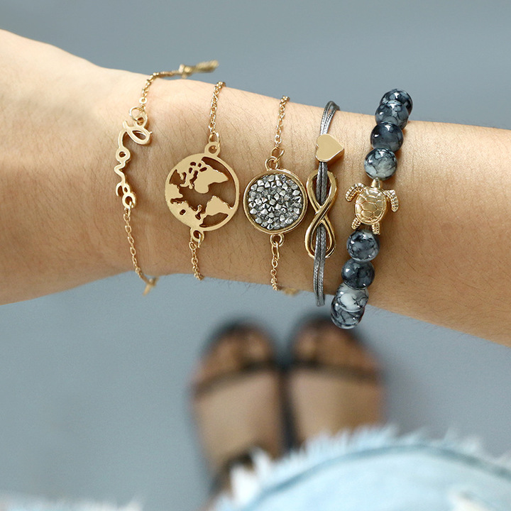 5pcs/Map bracelet love bow turtle beaded leather rope 5 pieces bracelet bracelet bracelet women gift gold as picture