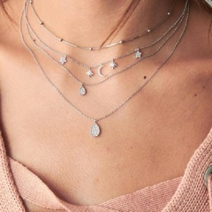 New jewelry popular fashion full moon pentacle drop pendant multi-layer necklace women gift silver as picture