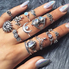 14PCS/Water drop flower sunflower moon sun 14 piece set with diamond ring set women gift silver as picture