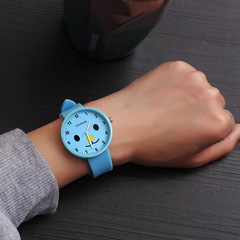 Fashion trend candy harajuku retro style simple male watch female students couples watches gifts sky blue one size