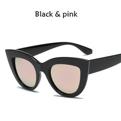 New Cat Eye Women Sunglasses Tinted Color Lens Men Vintage Shaped Female Eyewear Blue Sunglasses black pink one model