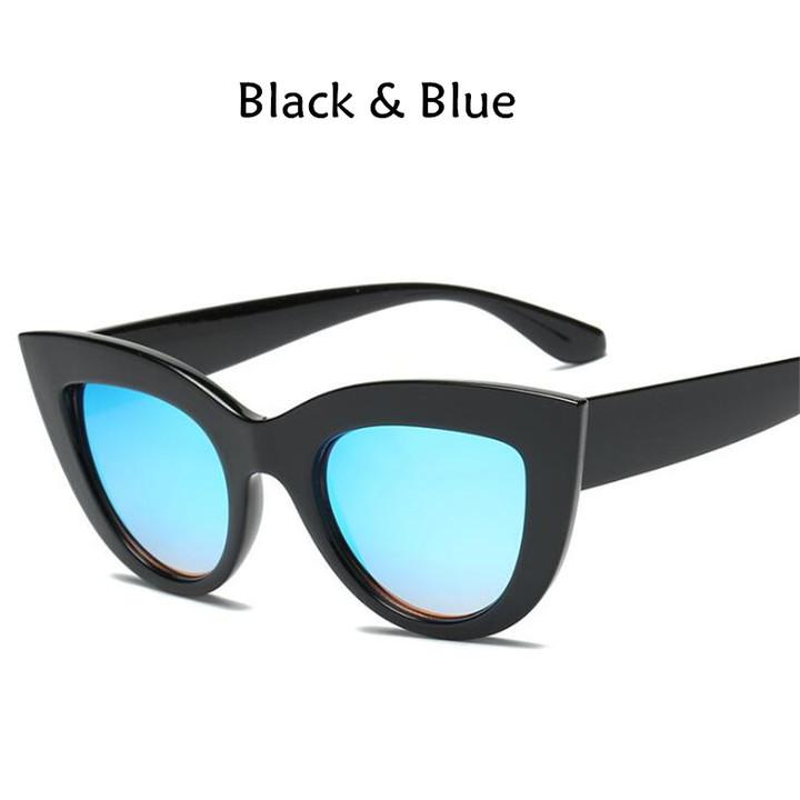 New Cat Eye Women Sunglasses Tinted Color Lens Men Vintage Shaped Female Eyewear Blue Sunglasses black blue one model