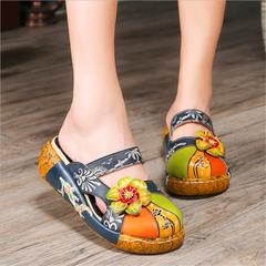Summer Women Shoes Flat Platform Slipper Genuine Leather Handmade Flower Cover Toes Comfotable navy CH35