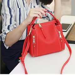 Special Korean version handheld bucket bag, single shoulder lady bag, oblique Bag red 23*19*12
