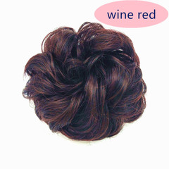 Wig Rings Simple Easy  Wear Hair Bud Curly Hair Pack Dumb High Temperature Silk Rubber Ribbon Hair WINE RED ONE SIZE