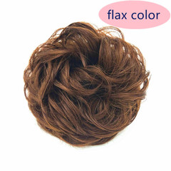 Wig Rings Simple Easy  Wear Hair Bud Curly Hair Pack Dumb High Temperature Silk Rubber Ribbon Hair FLAX COLOR ONE SIZE