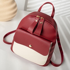 Shoulder bag Japanese and Korean new net red leisure fashion matching colorful small square bag Wine red 17*7*20