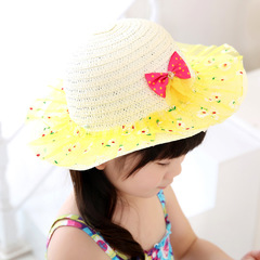 Sunshine children straw hat girl sunshade hat lace brim cap cartoon Lace Flower Beach cap yellow Head circumference is about 15 cm in diameter, sui