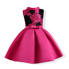 Girls'Dresses in Europe and America Embroidered Girls' Dresses and Girls Dresses pink 150cm