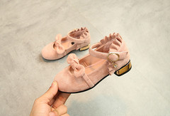 Spring and autumn new girl with Velcro in slip - resistant bow in the child princess single shoes pink 26