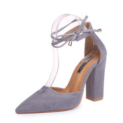 The new  fashion foreign trade large size thick heel high heel lace-up strap sandals lady gray 38