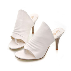 New comfortable high heel lady with feminine sexy flip-flops black and white heels white 38