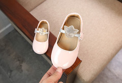 2019 spring and autumn new girl Velcro soft bottom non-slip princess shoes in child patent leather pink 27
