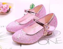 High heel shoes for girls, princess shoes for children, sequins for students, dancing shoes pink 27