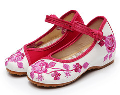 Thick-soled women's shoes with buckle and embroidered children's single shoes rose 36