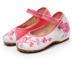 Thick-soled women's shoes with buckle and embroidered children's single shoes pink 25