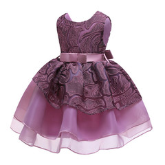 Children's dress children's wear embroidered princess skirt girl dress purple gauze skirt purple 150cm