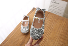 Girl shoe 2019 new water drills sequin princess shoe girl shoe of sole shoe soft bottom beanshoe silvery 31