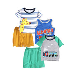 2019 summer new boy giraffe short sleeve printed round collar T-shirt vest shorts boy five suit 5 pieces 130 cotton