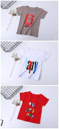 2019 summer children's pure cotton short-sleeved round collar T-shirt 3 pieces of special offer grey,white,red 150 cotton