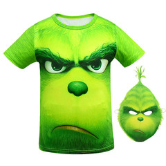 Hot style The Grinch cartoon short sleeve 3D printed boy's T-shirt Send the mask green 160 acetate fiber