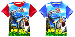 Cartoon summer children's wear dinosaur T-shirt short sleeve boy T-shirt 2 sets special price red+blue 150 cotton