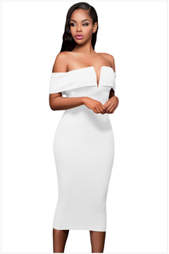 2019 New Fashion Women's Polyester Solid Color Casual High Waist Sleeveless Pencil V-Neck Sexy Dress XL white