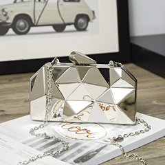 2019 ladies quality  diamond handbag solid shoulder bag lady messenger wallet and handbag gray one size