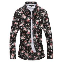 2019 Men Fashion Multicolor Floral Print Shirt Large Size Slim Long Sleeve Shirt black M