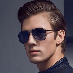 Men's Polarized Sunglasses and Aviator Sunglasses Gold frame black mirror one size