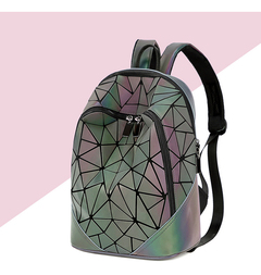 Large-Capacity Geometric Diamond  Backpack Student Bag Ladies Fashion Backpack Color gradient one size