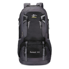 Large-capacity nylon waterproof outdoor travel bag couple shoulder casual sports backpack 40L60L Black 40L