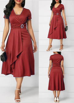 2019 new fashion women's polyester solid color casual high waist short sleeve V-neck sexy dress XL Red