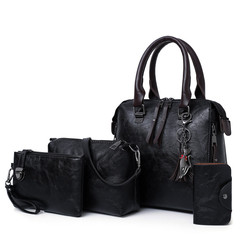 New 4 piece set with mother and daughter bag hand bill of lading shoulder cross bag black 25cm