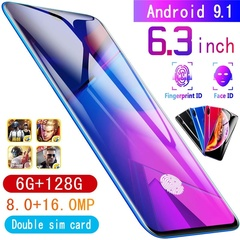2019 Mobile week 6GB + 128GB Android 9.1 High Quality 6.3 Inch Dual Card Smart Phones red