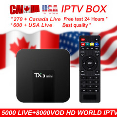 TX3 mini android tv box android 7.1+OTT IPTVsubscription USA IPTV Europe  iptv box M3U smart tv box With 6 months IPTV