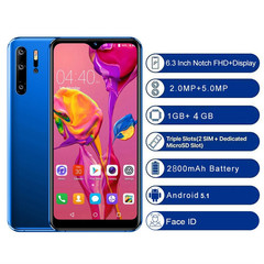 P30 6.3inch MobilePhone Four Camera 1G+4G GPS 3G Android SmartPhone Big Battery blue