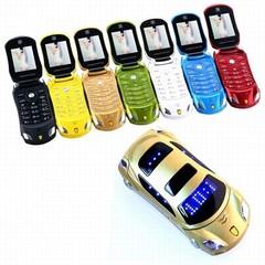 Car Model Phone Flashlight Dual Sim Cards Recorder Flip Cellphone FM Radio Mini Cell Mobile Phone white