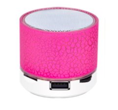 S8A9 bluetooth  portable Subwoofer speaker outdoor indoor rechargeable Colorful LED  3w small crack pink 6.2*6.2*7 cm
