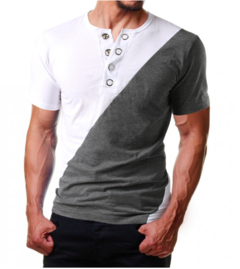 V-shape sportive T-shirt short sleeve fashion cotton multicolor-combination metallic button white plus grey xl cotton