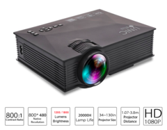 UC46 Plus 800x480 1200 Lumens Video Projector Home theatre WIFI Support Miracast/Airplay Full HD black 20*15*6.8 cm