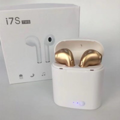 i7 Mini Bluetooth Earphone Wireless Headphone  Headset Handsfree Earbuds with charging box golden