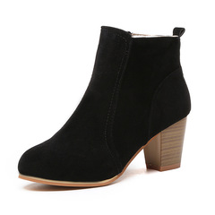 Women High Heels Female Martin Boots Buckle Fashion Round Toe Flock Western Ankle British Style Black 35