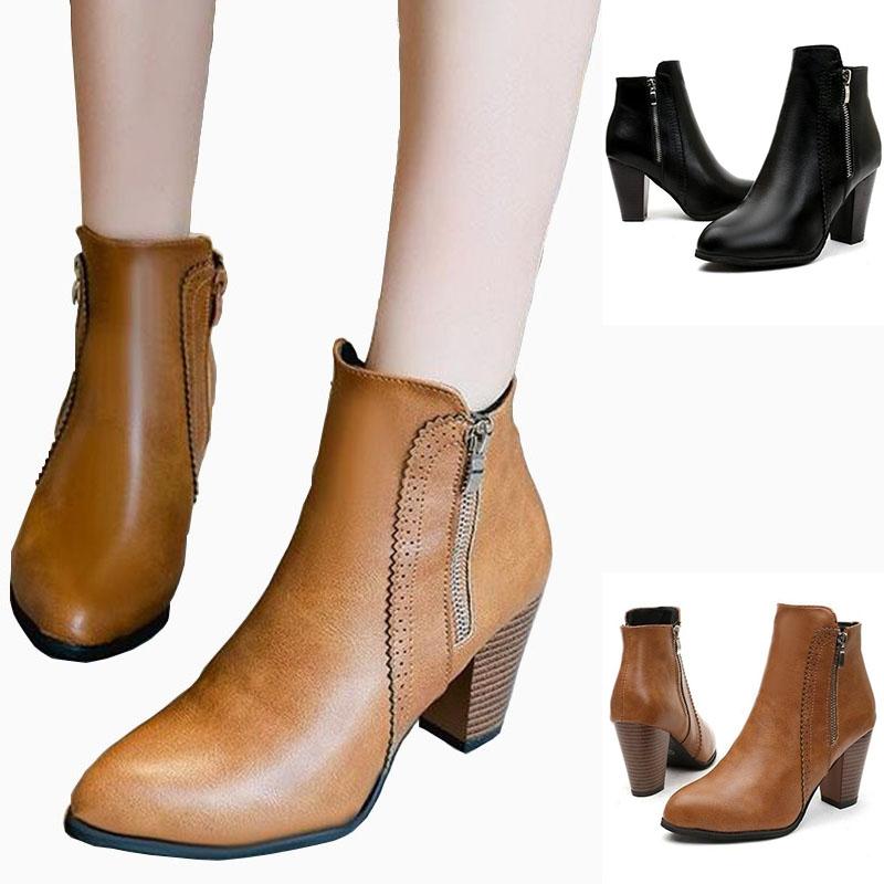 2e343e05a6b Retro Women Boots Vintage Block Heel Ankle Boots Side Zipper High Heels  Women Shoes Big Sizes 35-43 black 35