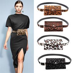 Women Leopard Horse Hair Decorative Pockets Dual-use Mobile Phone Bag Purse casual Drop Shipping black normal