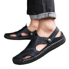 Summer Sandals Men Leather Classic Roman Sandals Slipper Outdoor Sneaker Beach Rubber Flip Flops BLACK 39