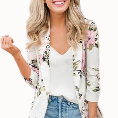 Elegant Blazer Feminino Women Floral Long Sleeve Blazer Notched Collar Coat Female Outerwear one s