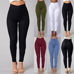 Female Trousers High Waist Stretch Slim Trousers Women Clothing Pants Sexy Women Lady Skinny Pants black xxl