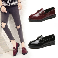 Shoes Buckle Decoration Oxford Shoes Woman Patent Leather Moccasins Flats Ladies Casual Loafers black 35